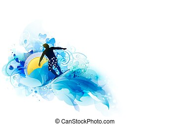 Abstract image of movement, speed and wave. Black silhouette of surfer on background of the sun