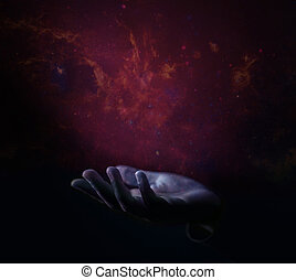 Abstract Image of Opened Hand Raising into the Star Nebula in Universe . Meaning of Life. Elements of this image furnished by NASA
