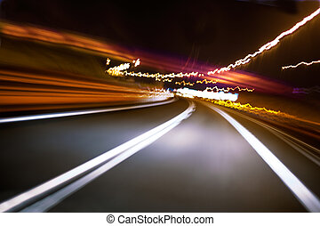 Abstract image of road at night