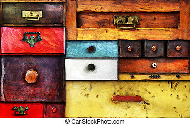 Abstract image of the various old drawers - chest of drawers - in utter secrecy - photo - digitally altered