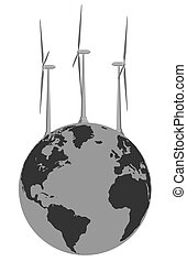 Abstract image of wind generators and the planet earth. Logo or emblem for an article or business.