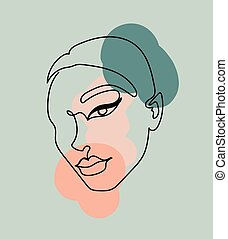 Abstract image with continuous black line of a woman's face on the colorful background.