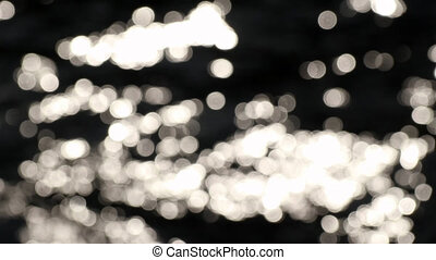 Abstract images in nature. Blurred bokeh sun glare glistening on water surface.