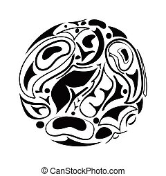 abstract indigenous ornament north american firstnation style with bird