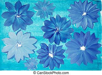 Abstract indigo flowers on turquoise background