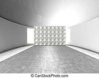 Abstract indoor futuristic indoor with acoustic wall with...
