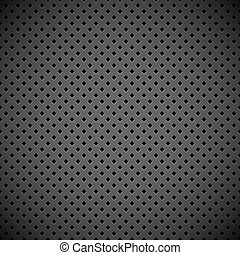 Abstract industrial perforated metal plate vector background.
