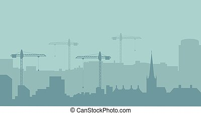 Abstract Industrial Skyline. Panoramic Industrial Construction landscape silhouette. Vector illustratuion