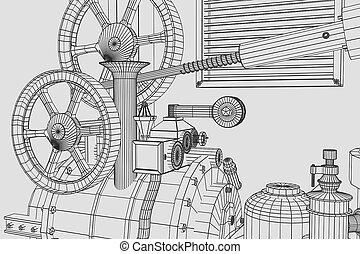 Abstract industrial, technology background. Gears outlines