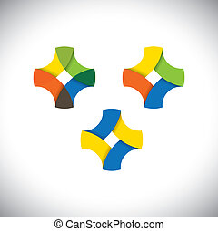 abstract infinite loop icon made of colorful ribbons -...