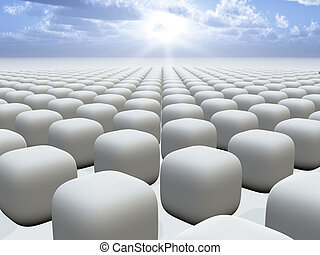 An abstract background illustration of a grid of round cubes checker pattern into horizon to sun.