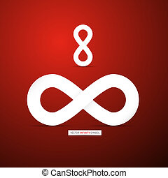 Abstract infinity symbol on Red Background