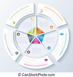 Abstract infographic design with circle and five segments.