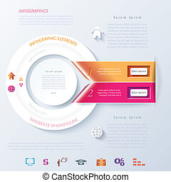 Abstract infographic design with circle and ribbons.