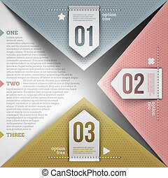 Abstract infographic design with paper numbered elements - vector illustration