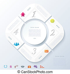 Abstract infographic design with white circle and four segments. Vector illustration can be used for web design, workflow or graphic layout, diagram, numbers options, education, presentation