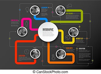 Abstract Infographic Template with main topic in the middle
