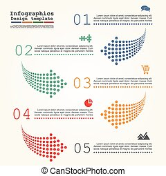 Abstract infographic with dots arrows. Vector illustration