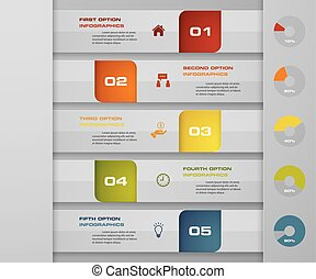 Abstract Infographics 5 steps banner design elements. 5 step layout template.