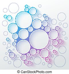 Abstract infographics blue and purple gradient circles meatball shape with colorful shadow
