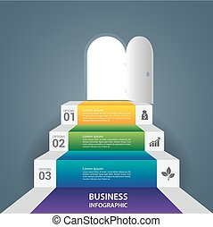 Abstract Infographics business stair step success vector design template.