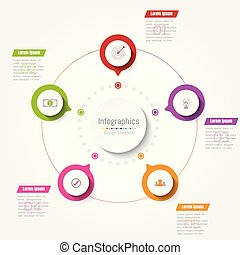 Abstract infographics business step options template. Vector illustration.
