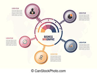 Abstract infographics five options template. Vector illustration. Can be used for workflow layout, diagram