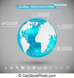 Abstract Infographics Global communication with Icons Planet Earth Sphere Ball on Gray Bacground Vector Illustration