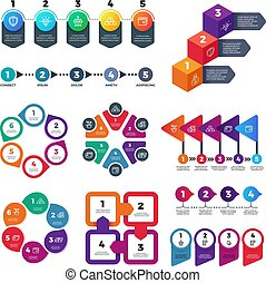 Abstract infographics number options template. Info chart, workflow marketing diagram with steps vector set