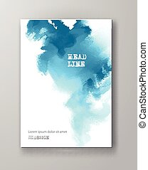 Blue abstract design. Ink paint on brochure, Color element isolated on white. Grunge banner paints. Simple composition. Liquid ink. Background for banner, card, poster, identity, web design.