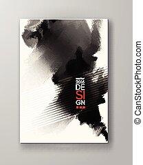 Abstract inkblot background. Monochrome grunge paint design...