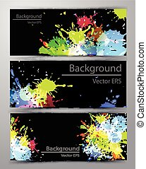 Abstract inkblot colorful banners