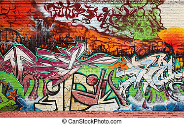 Abstract Interesting graffiti on vandalised wall; urban background photo