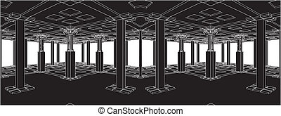Abstract Interior Antique Columns