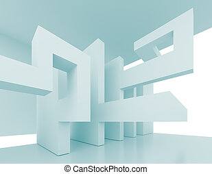 Abstract Interior - 3d Illustration of Blue Abstract...