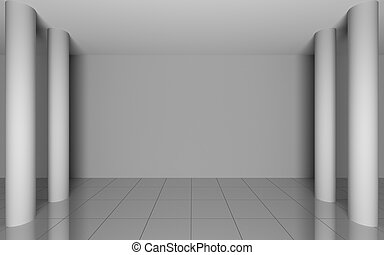 Abstract interior in room with blank grey walls