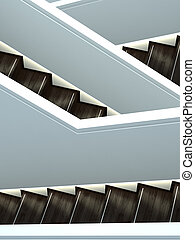 abstract interior shot of stairs crossing