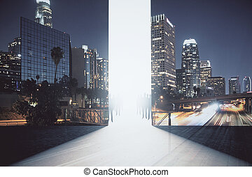 Abstract interior with bright opening, people figures and night city view. Success concept. Double exposure