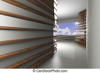 Abstract interior with curve wood shelfs