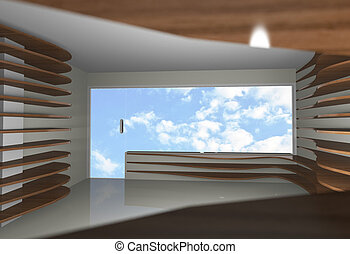 Abstract interior with empty wood shelfs