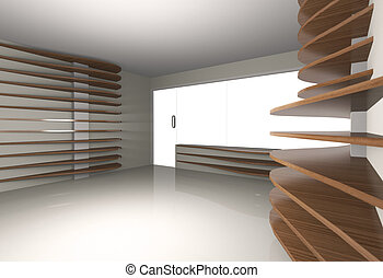 Abstract interior with horizontal wood shelfs