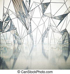 Abstract interior with polygonal window