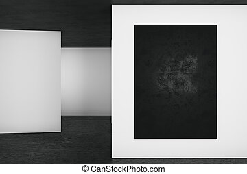 Abstract interior with poster