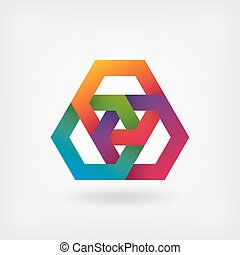 abstract interlocking hexagons in rainbow colors