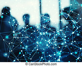 Abstract internet connection network background with silhouette of business team