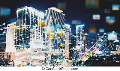 Abstract internet connection network with night city with skyscrapers at the background