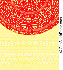 Invitation Card with Red Ethnic Round Element