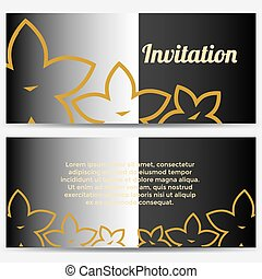 Abstract Invitation with flowers