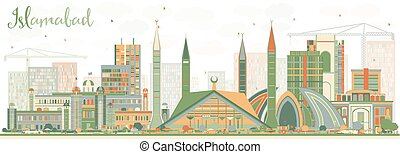 Abstract Islamabad Skyline with Color Buildings. Vector...