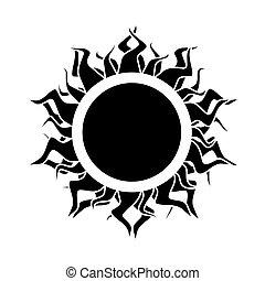 abstract isolated black sun. vector.